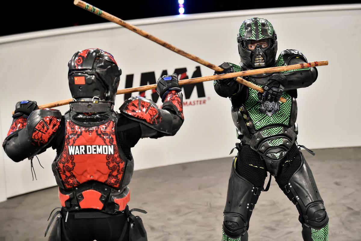 War Demon (L) and Fierce go at it with wooden staves