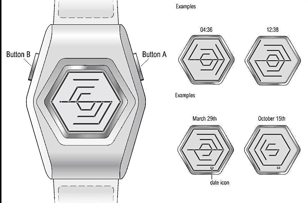 Diagram of the Kisai Spider Acrylic watch together with displays with time and date identified (Image: TokyoFlash)