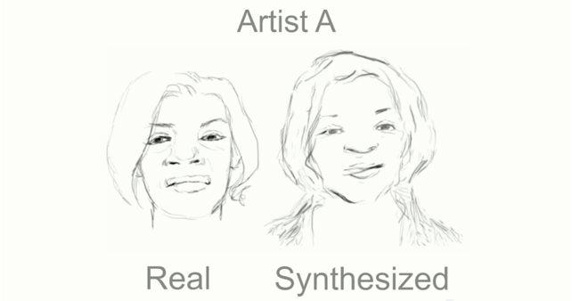 A human artist's sketch (left), and the computer's attempt at a drawing of the same face done in that artist's style