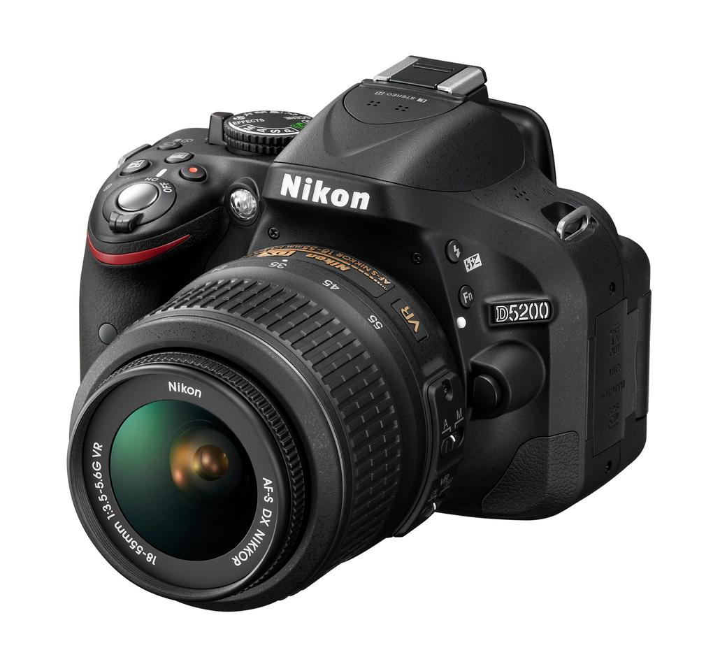 The Nikon D5200 features a 24.1-MP DX-format CMOS sensor and an upgraded auto-focus system