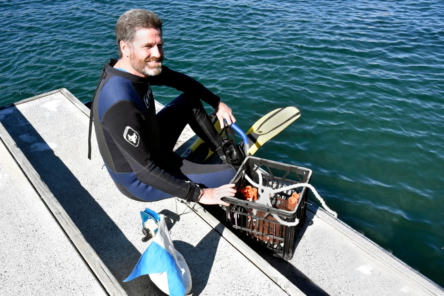 David Booth, a professor of Marine Ecology at the University of Technology Sydney, prepares to enter the water at Sydney harbor