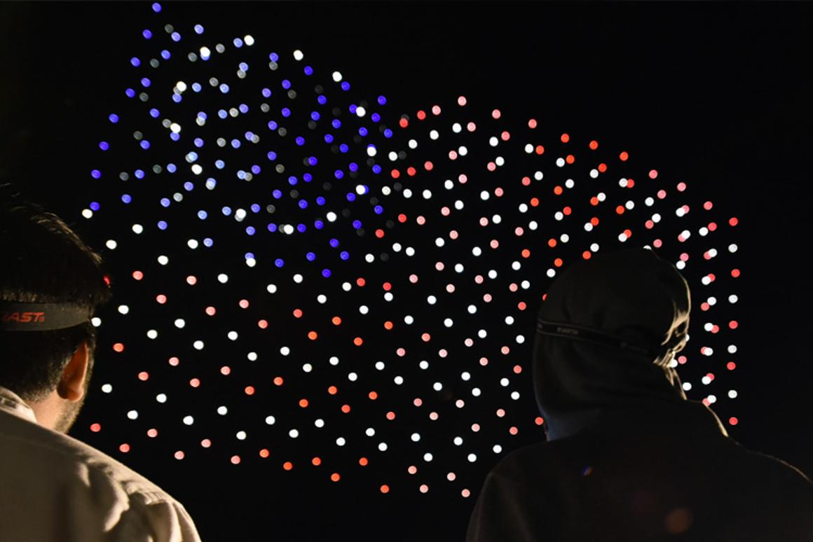 Intel Shooting Star drones create a USflag during 2018 Independence Day celebration rehearsals at Travis Air Force Base in Fairfield, California