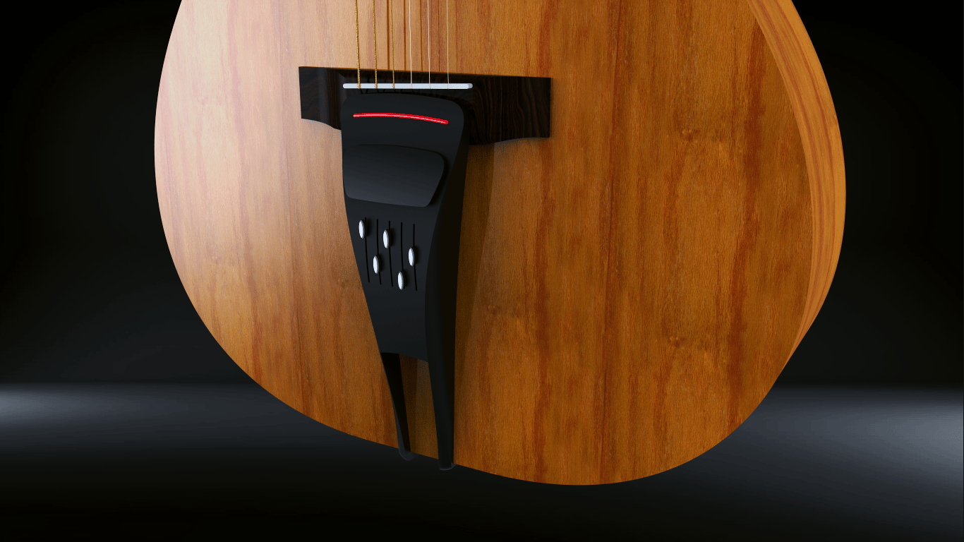 The Pulse attaches the an acoustic guitar's bridge pins and the strap peg