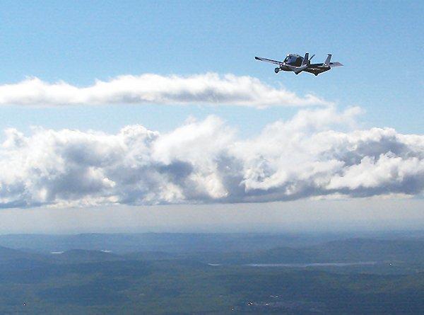 The Terrafugia Transition on a test flight over northern New York State (Photo: Terrafugia)