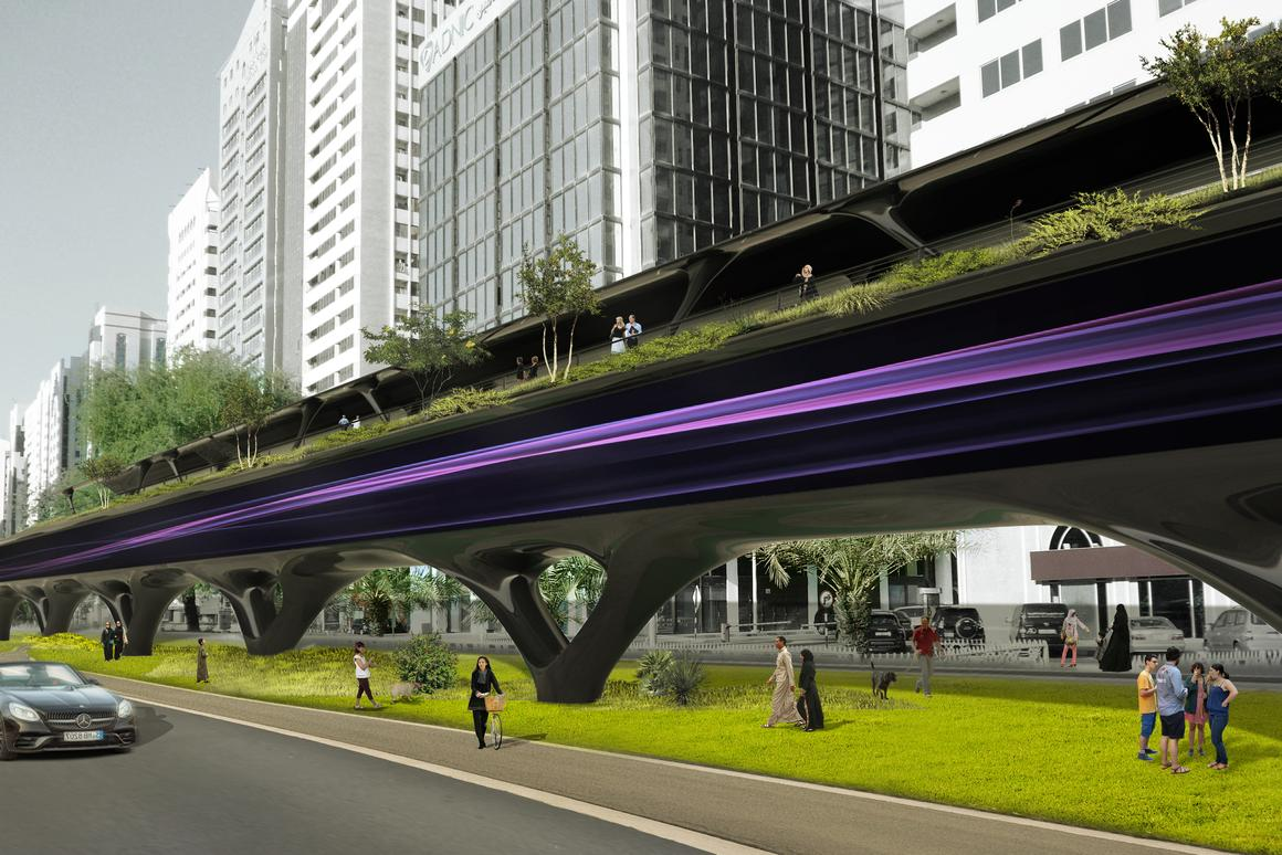 In busier areas, sections of the solar arrays atop the hyperloop system would be swapped out for green walkways for pedestrians