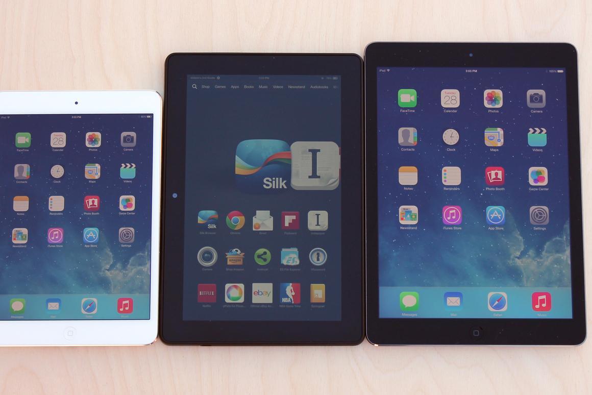 Up close: Kindle Fire HDX 8 9 vs  iPad Air & Retina iPad mini