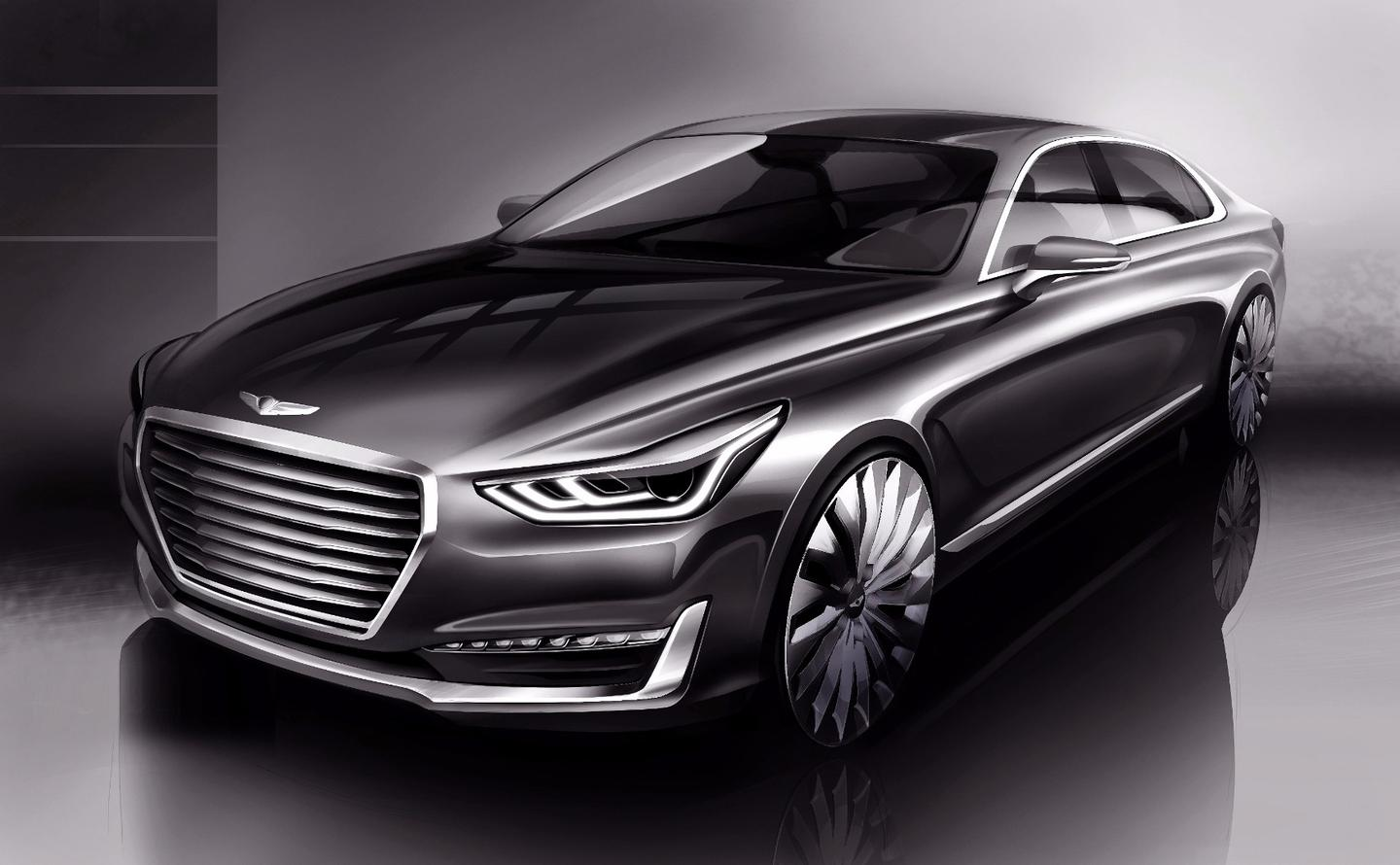 A rendering showing the design of Hyundai's Genesis luxury sub-brand, the G90