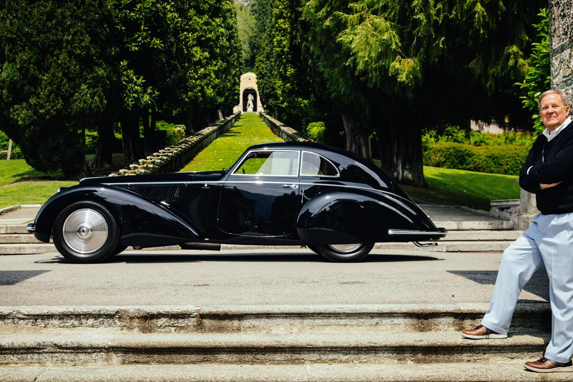 "This 1937 Alfa Romeo 8C 2900B Touring Berlinetta owned by David and Ginny Sydorick won the Coppa d'Oro Villa d'Este (awarded  to the ""Best of Show"" voted by public referendum) and the Trofeo BMW Group awarded  to the ""Best of Show"" by the Jury."