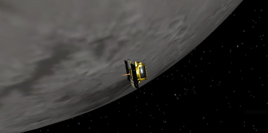 Artist concept of GRAIL-B performing its lunar orbit insertion burn to join GRAIL-A in lunar orbit (Image: NASA/JPL-Caltech)