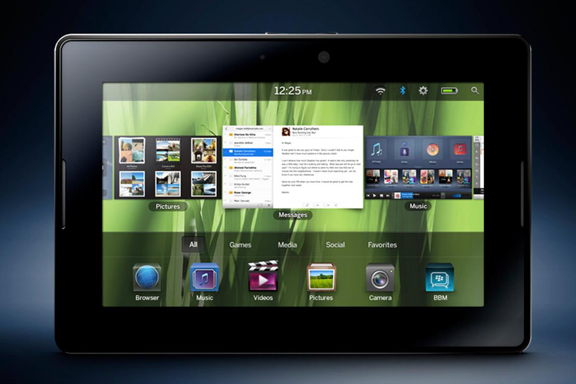 The front navigation interface of the new BlackBerry Tablet OS on the PlayBook