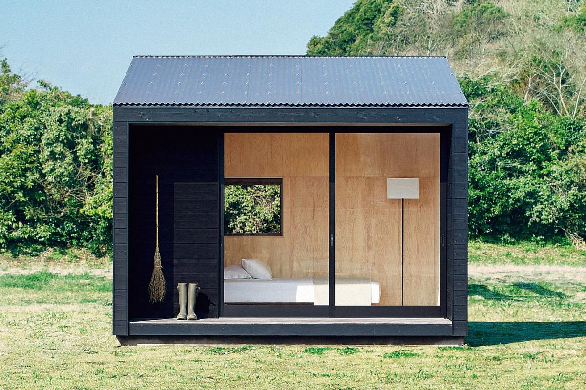 The Muji Hut's interior is very simple and comprises just one room, ready for owners to add as much or little as they need