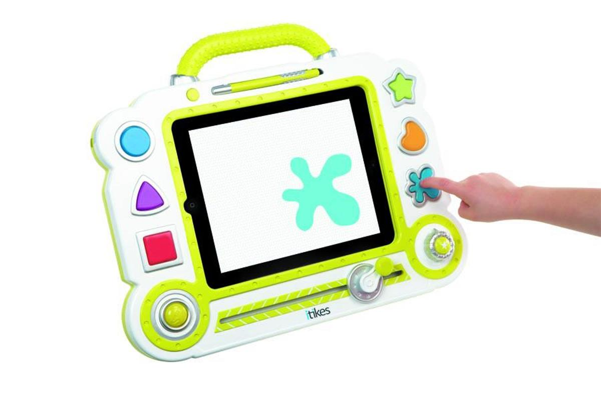 The iTikes toys include a keyboard, map, microscope, and an art canvas