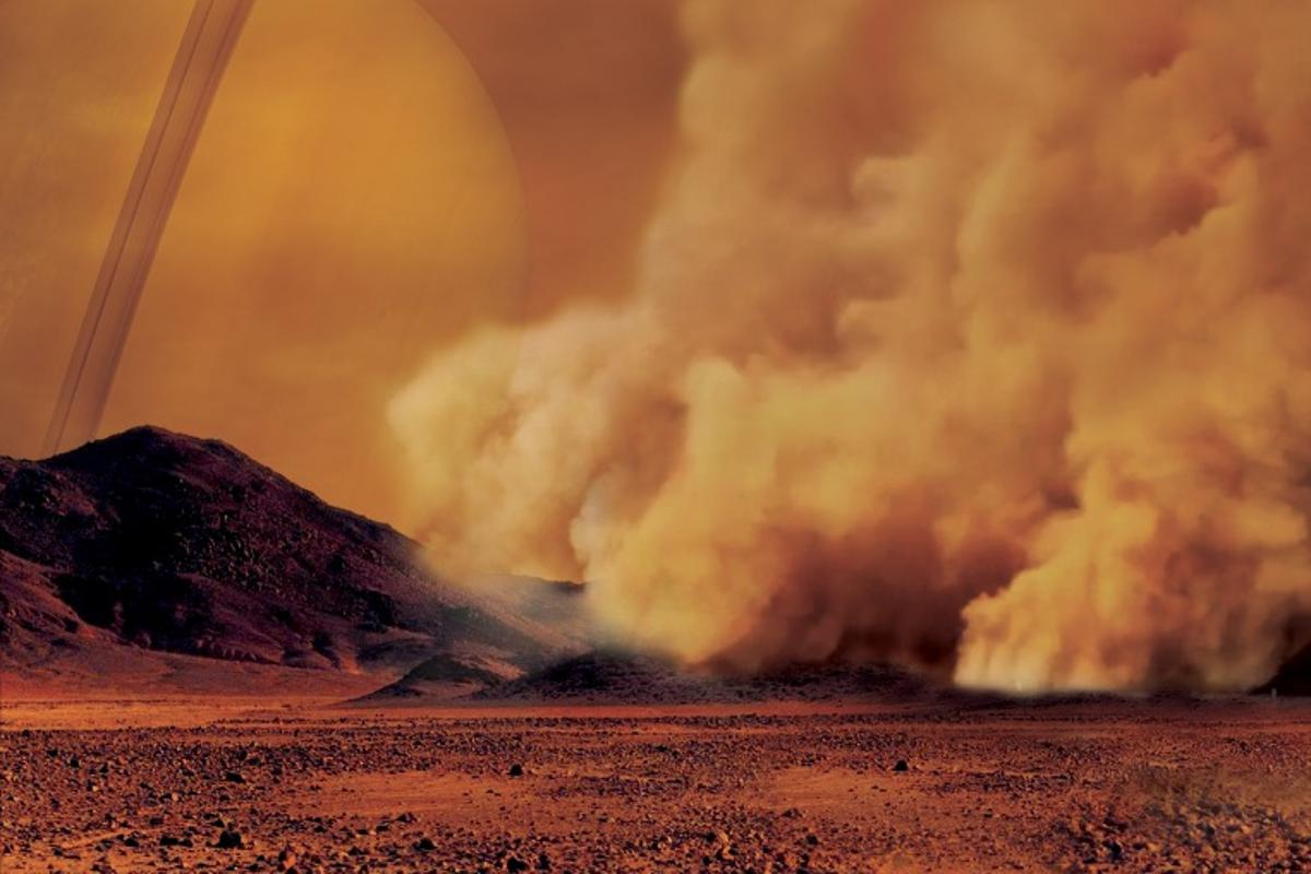 Artist's impression of a dust storm on Titan