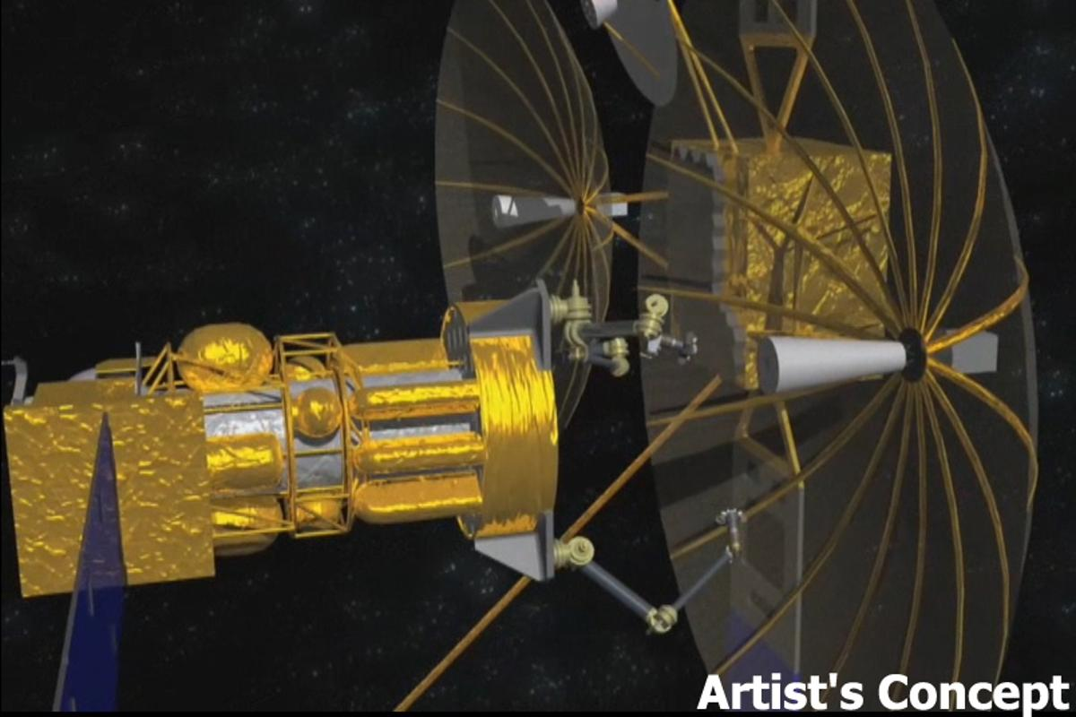 A rendering of DARPA's proposed tender satellite, in the process of removing the antenna from a defunct satellite