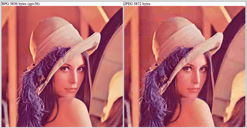 Heavily compressed BPG (left) and heavily compressed JPEG (right)