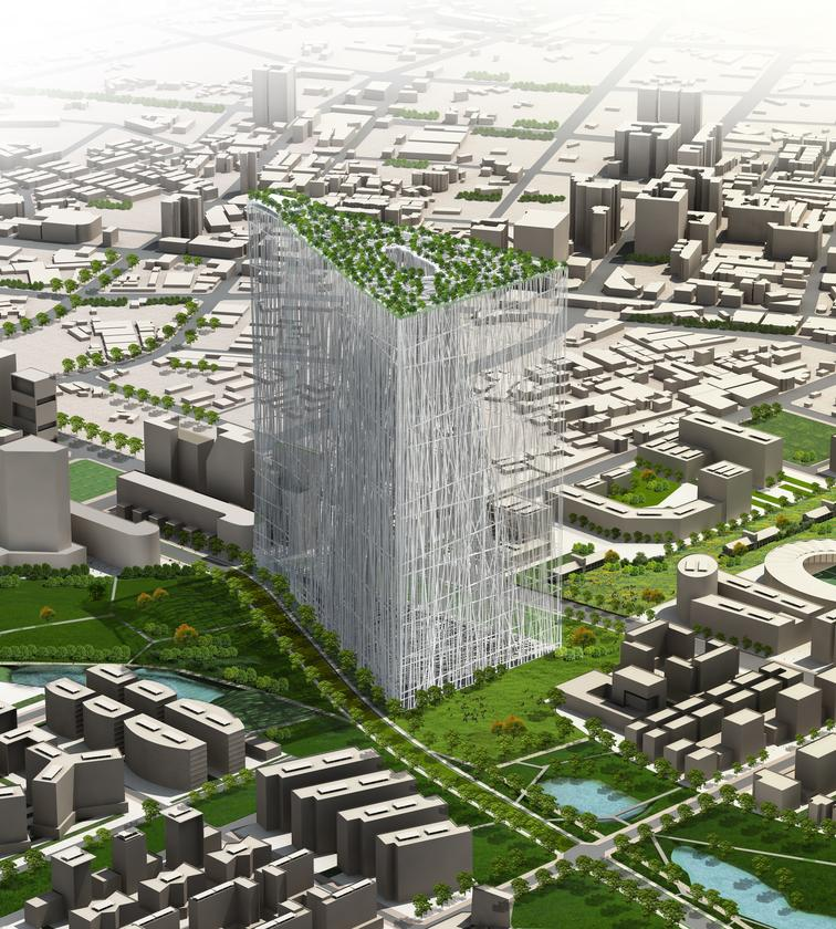 Japanese architectural firm Sou Fujimoto has won the Taiwan Tower International Competition with its green architecture design that features a floating forest (image:Sou Fujimoto)