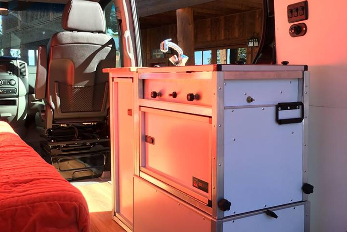 Plug-n-play indoor/outdoor TK kitchen instantly turns van