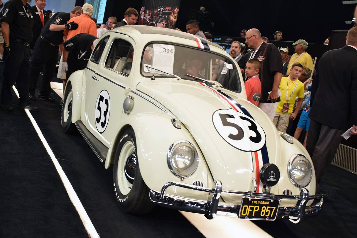 Herbie crosses the block at Barrett-Jackson's auction to become the most valuable Volkswagen Beetle in history, selling for $126,000