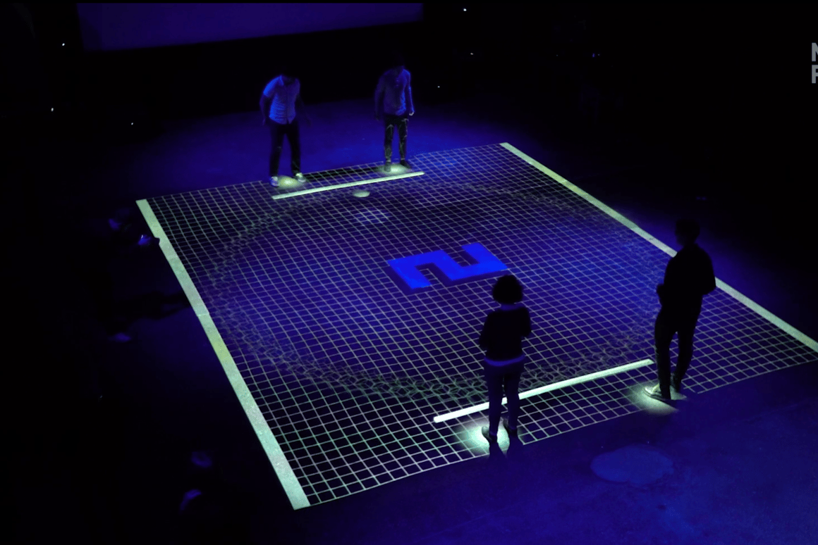 GRiD is a modern twist on Pong using pairs of motion-tracked humans to control the paddles