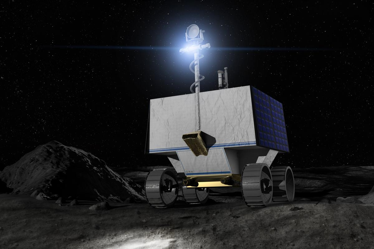 Artist's concept of the VIPER rover that will be delivered to the Moon by Astrobotic