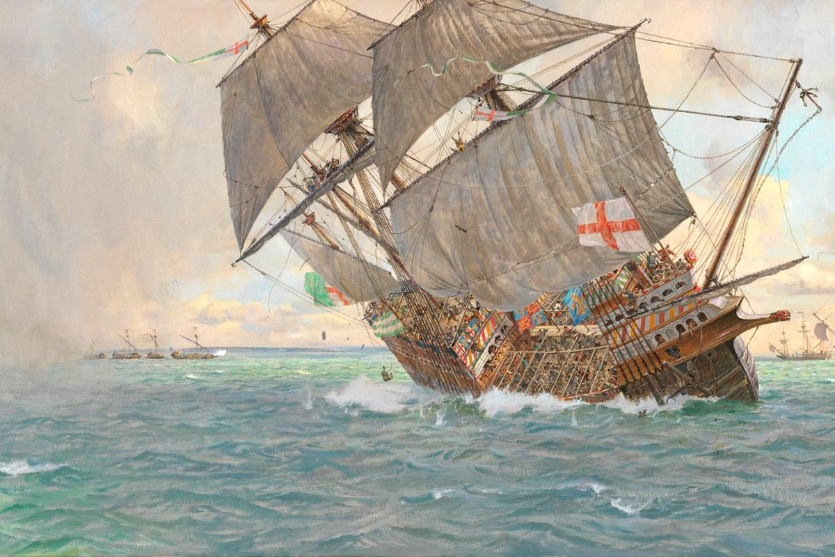 An artist's recreation of the sinking of the Mary Rose in 1545