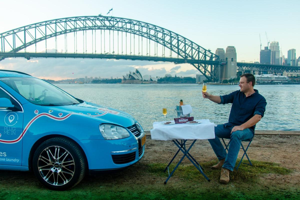 Wiebe Wakker and the Blue Bandit celebrate their arrival in Sydney, Australia, in April