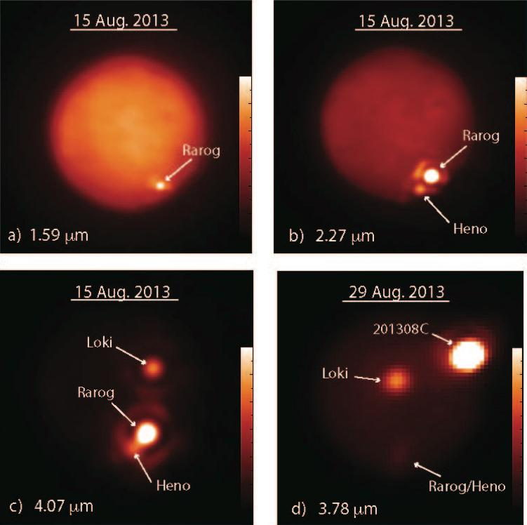 Io imaged in different infrared wavelengths – the eruptions were observed taking place at the Rarog and Heno calderas, and later at 201308C as exhibited in d (Image: Katherine de Kleer/UC Berkeley/Gemini Observatory)