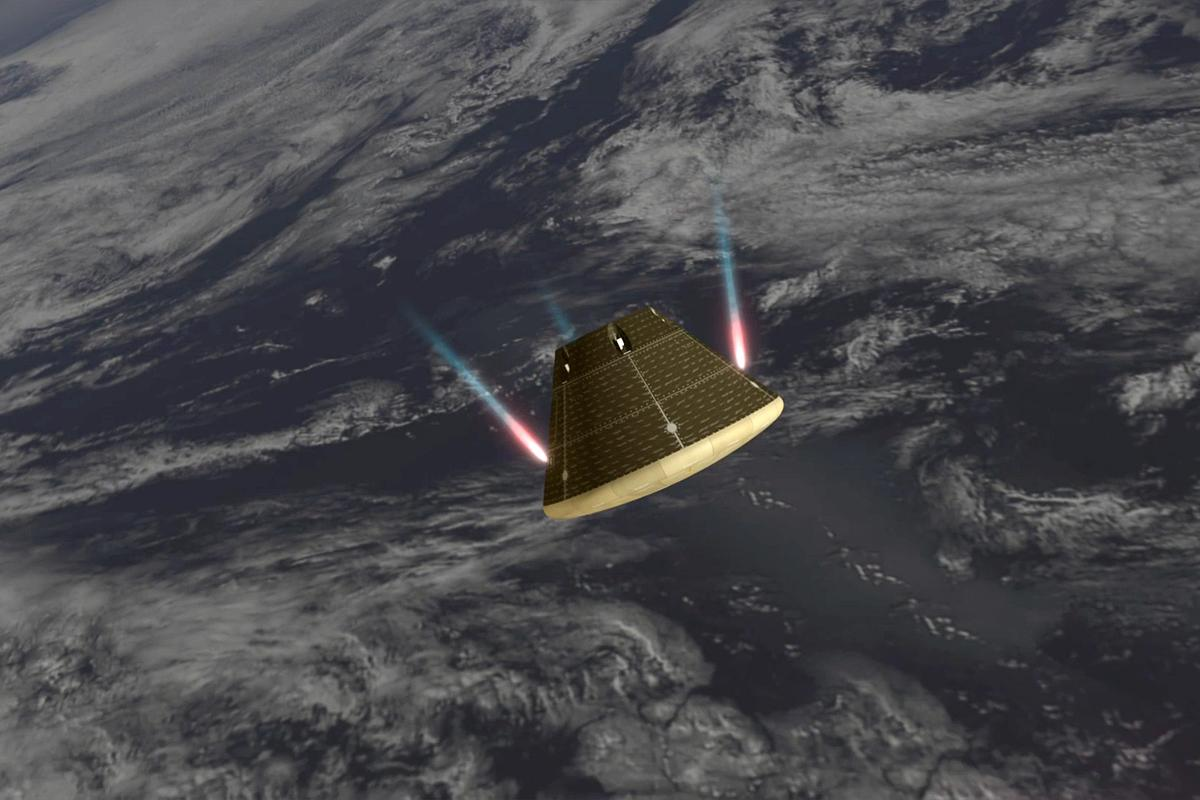 Artist's concept of Orion adjusting its attitude for re-entry (Image: NASA)