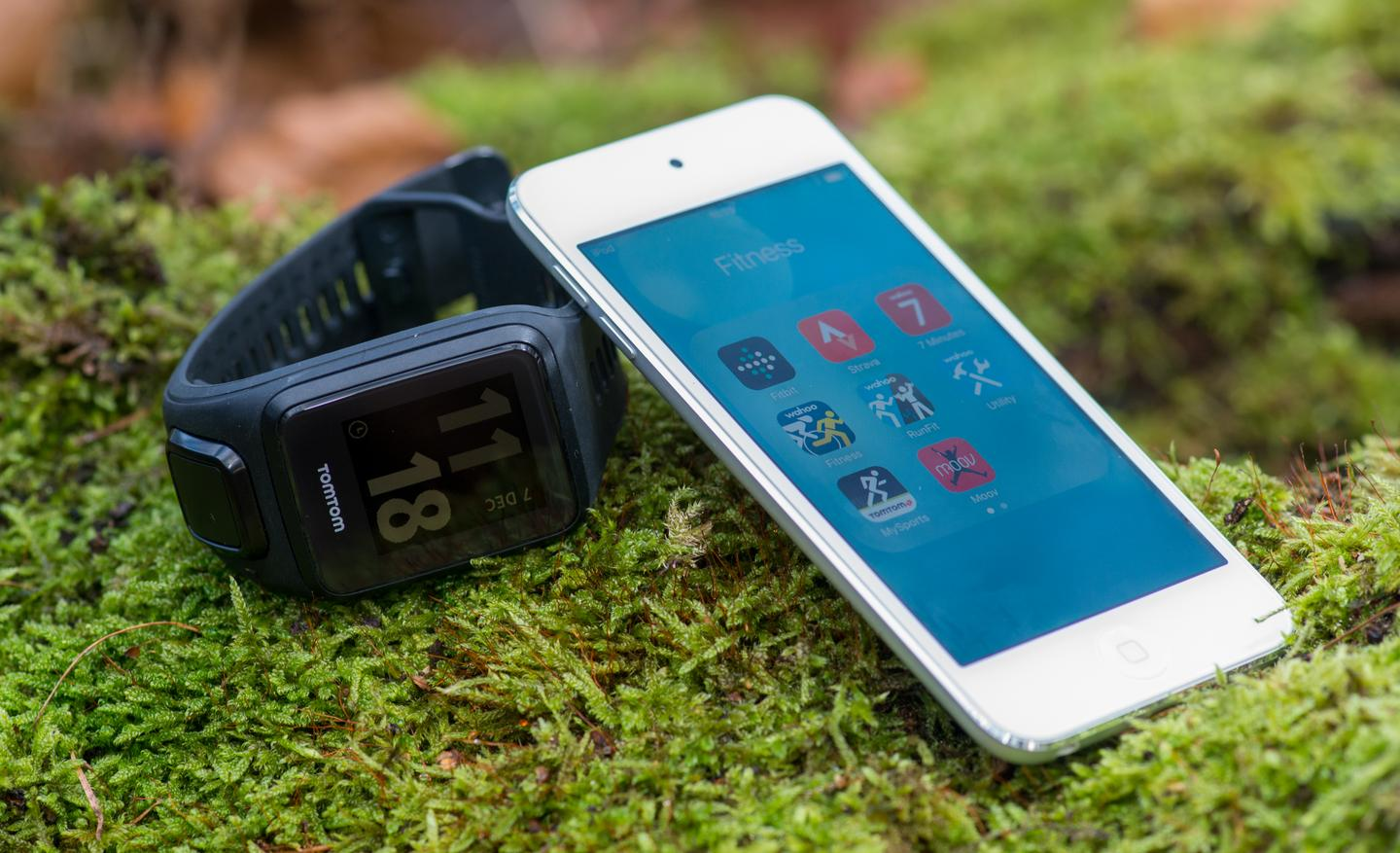 The TomTom Spark (Cardio + Music) might mean you can leave the phone (or MP3 player) at home