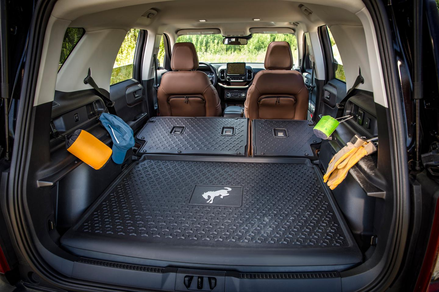 The Bronco Sport's washable rubber flooring and seat backs and carabiner hooks are sure to prove helpful to campers