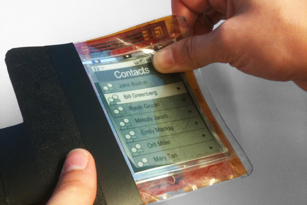 Researchers have created a thin film flexible smartphone, known as the Paperphone (Photos: Queen's University)
