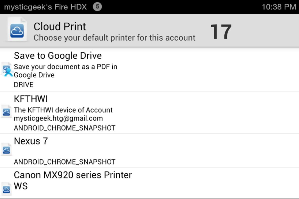 How to print from the Kindle Fire HD or HDX