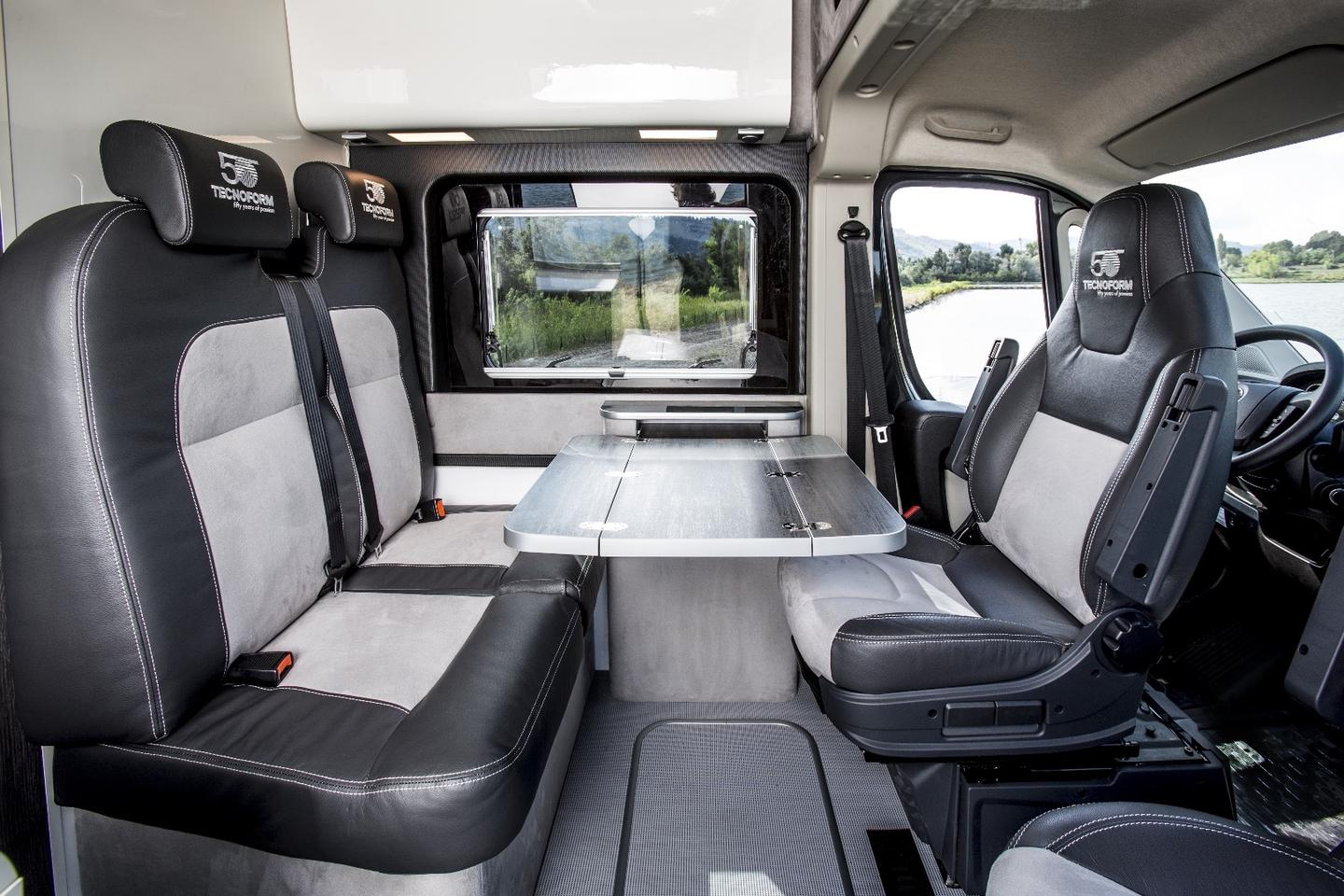The Ducato 4x4 Expedition Camper show van has a simple dining layout