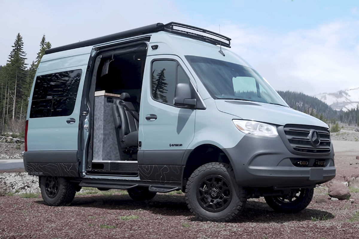 Outside Van turns the Mercedes Sprinter 144 4x4 into the Blue Sky camper van
