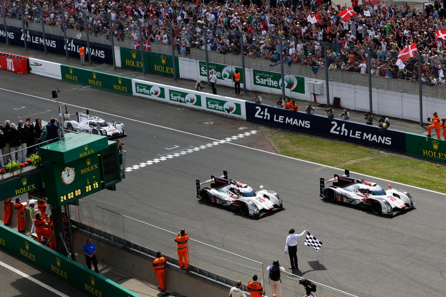 The Audi of Marcel Fassler, Benoit Treluyer and Andre Lotterer eventually took the victory in Sunday's event, but not before both Toyota and Porsche had led and looked like winning. For this particular driver grouping, it was the third win in the last four years (it also won in 2011 and 2012), with last year's winning combo of Tom Kristensen, Marc Gene and Lucas Di Grassi taking second place three laps down in another Audi, giving the marque a 1-2 finish against all odds