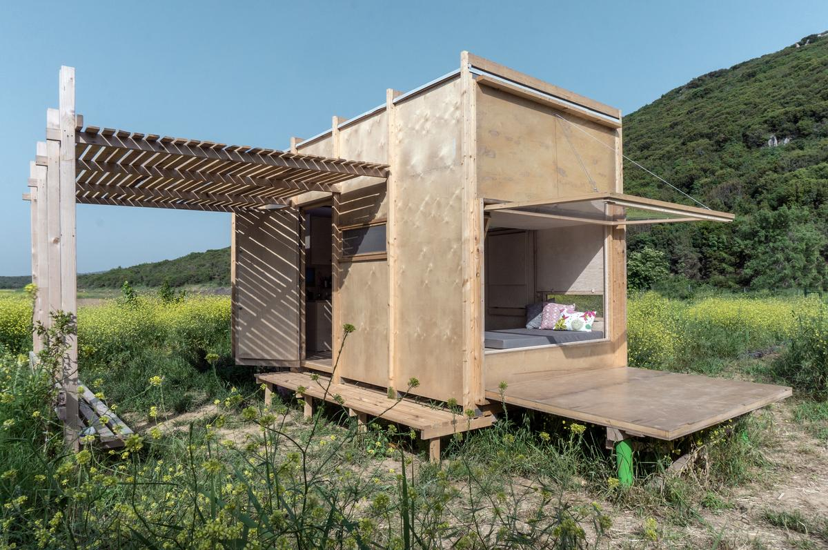 The Cabin on the Border runs off-the-grid with solar power and rainwater collection