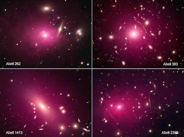 Four of the 13 galaxy clusters studied, which support the idea that dark matter may be both fuzzy and in excited states