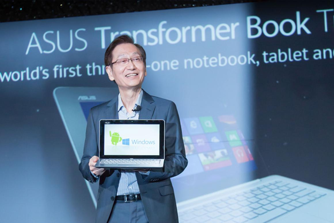 Asus chairman Jonney Shih introducing the Transformer Book Trio at Computex 2013