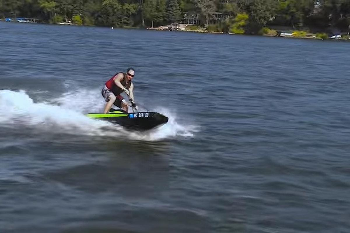 The BomBoard modular PWC in action on a lake