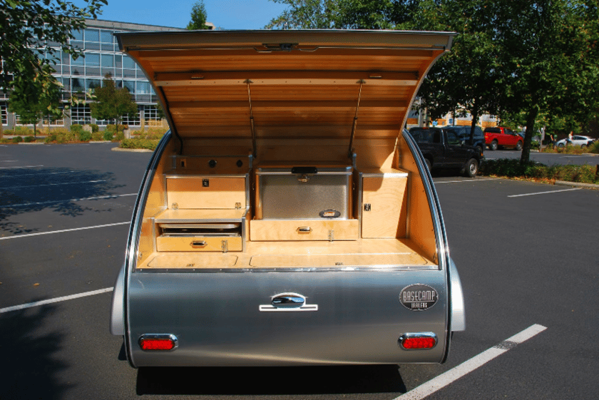 High Camp teardrop trailers wrap fine woodwork with aluminum skin