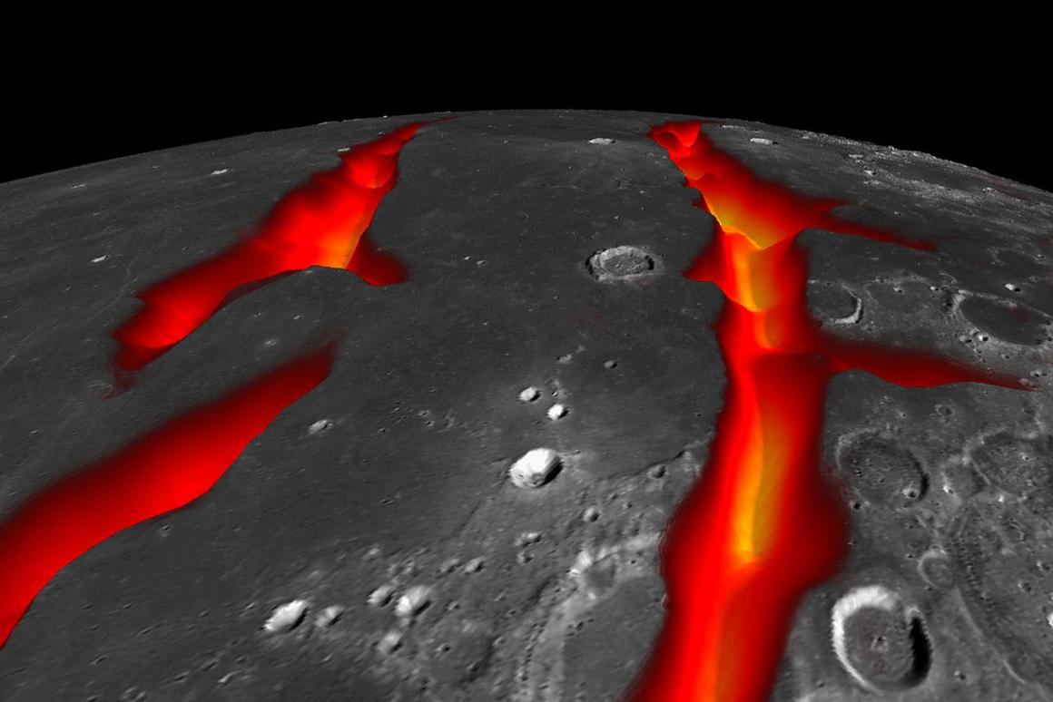 Artist's concept of the rifts that created the Ocean of Storms (image: NASA/Colorado School of Mines/MIT/JPL/GSFC)
