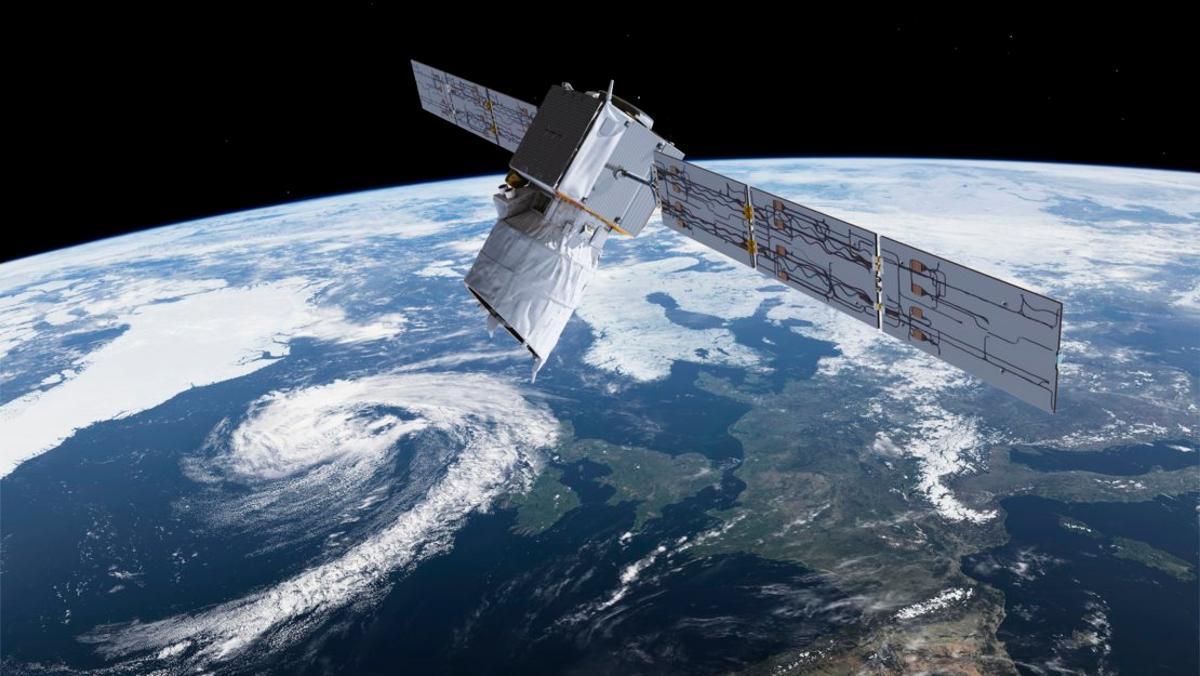 Artist's impression of the Aeolus satellite in orbit
