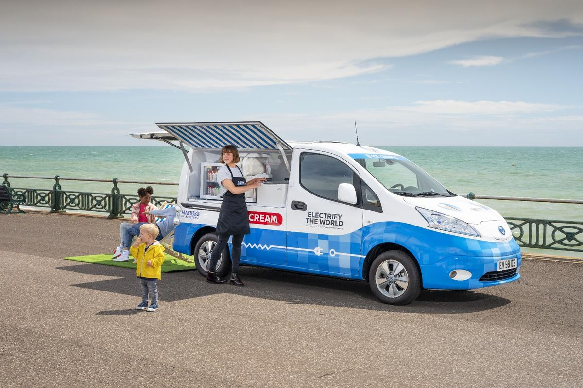 Nissan's electric ice cream vancan be recharged from the wall in around an hour