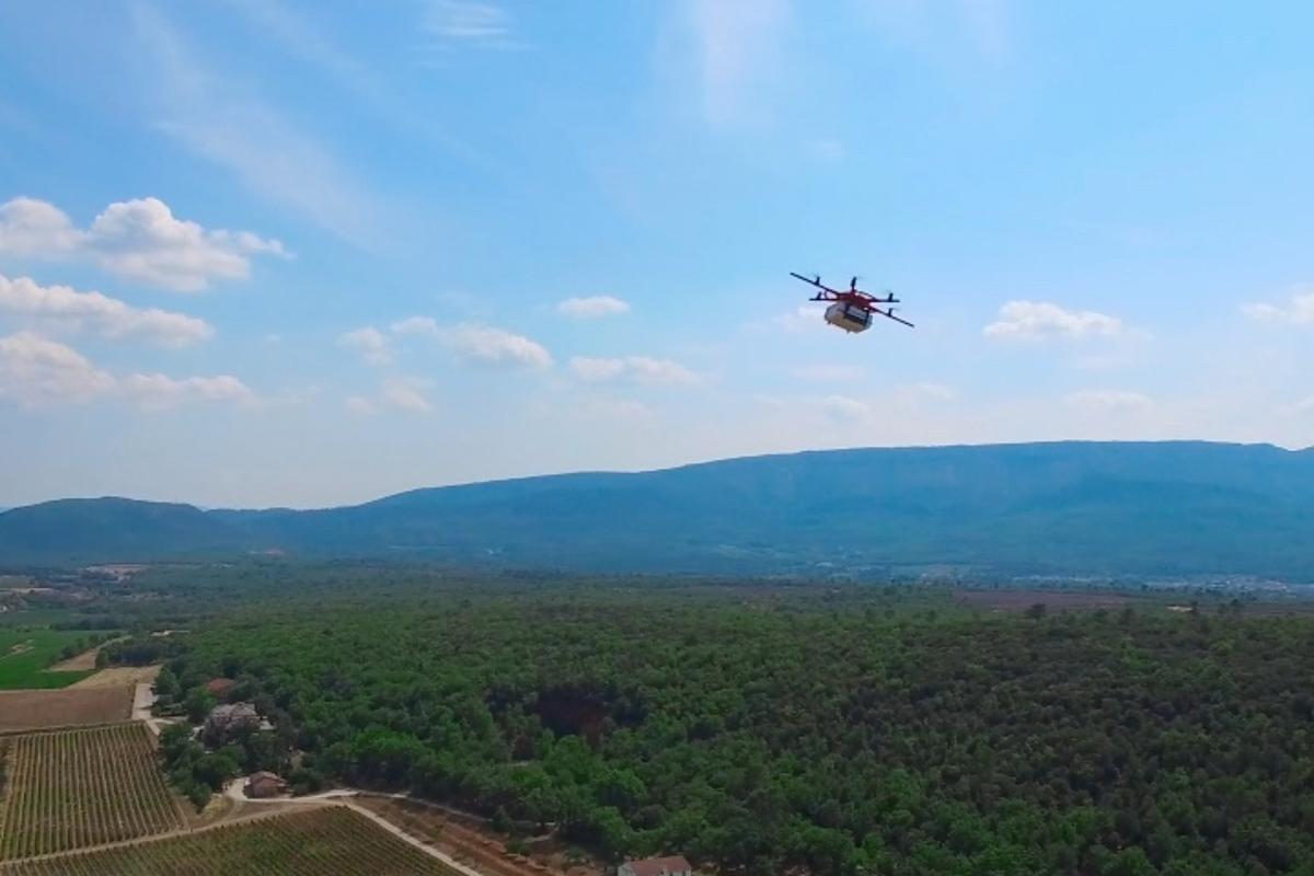 The French delivery drone takes to the skies