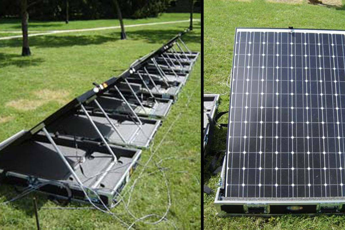 The GREENS solar panels can be rapidly deployed in the field to provide front line forces with power for computing devices, targeting systems and communications devices