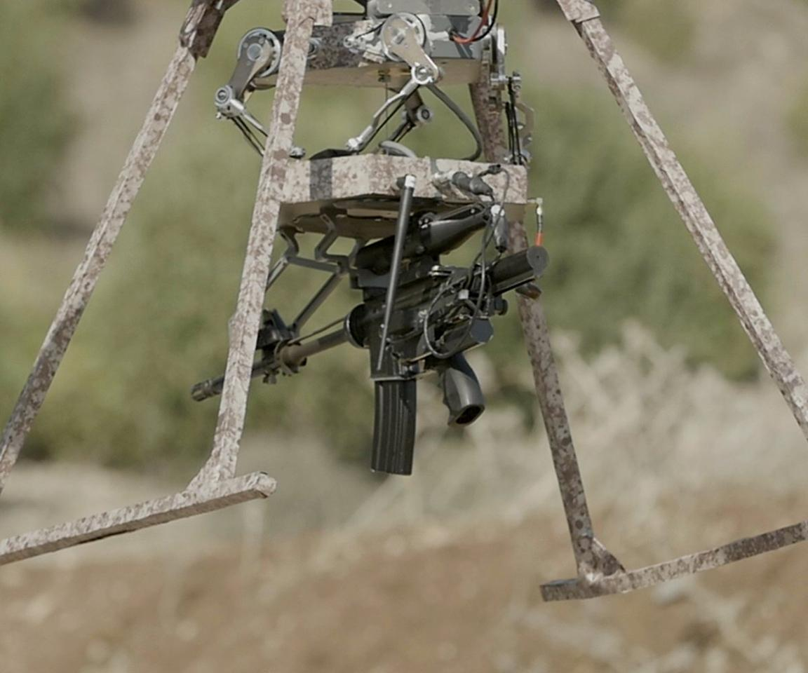 The TIKAD can mount and fire any weapon up to a weight of 22 lb (10 kg)