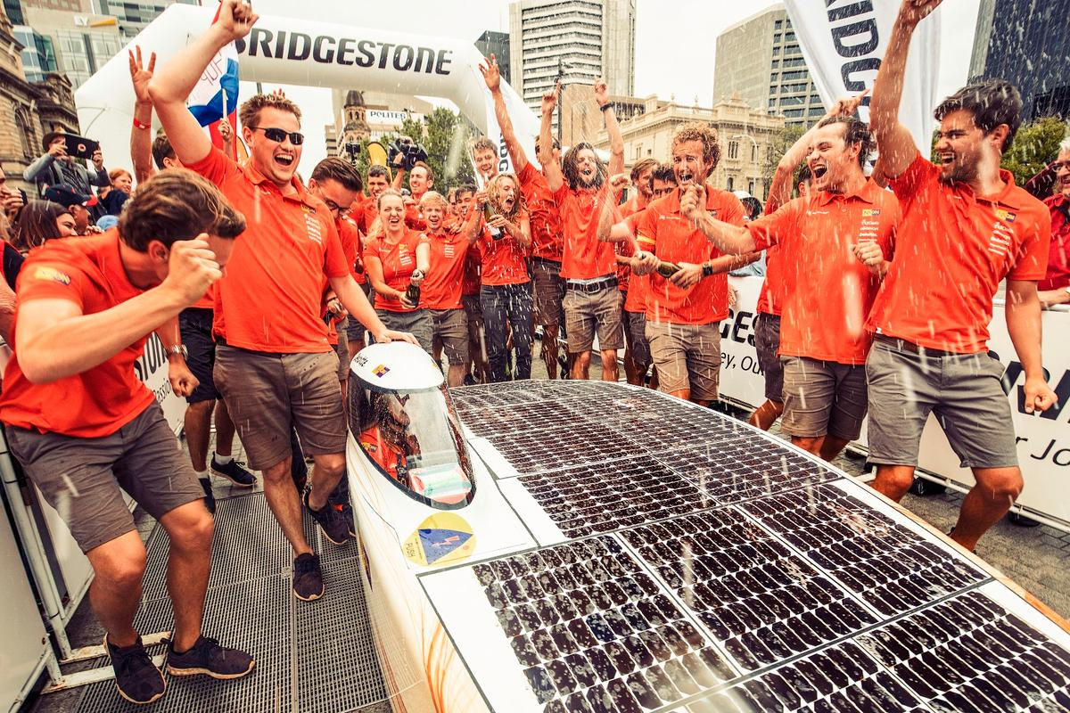 Nuon Solar Team weathered the storm much better than its rivals in the 2017 World Solar Challenge, managing its energy consumption, strategy and driving style to cruise to a convincing victory