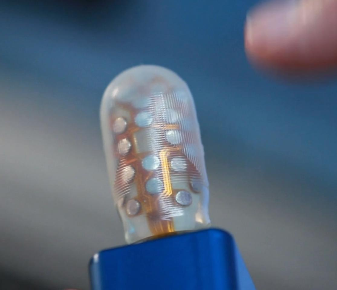 The BioTac sensor has a soft, flexible skin over a liquid filling