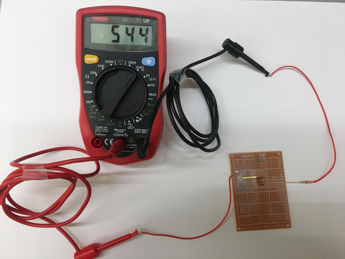 The Air-gen prototype, generating an electrical current