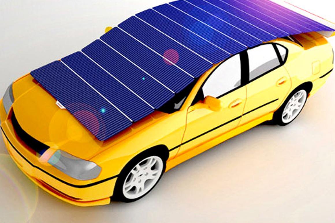 Shelf car sunshade generates solar power